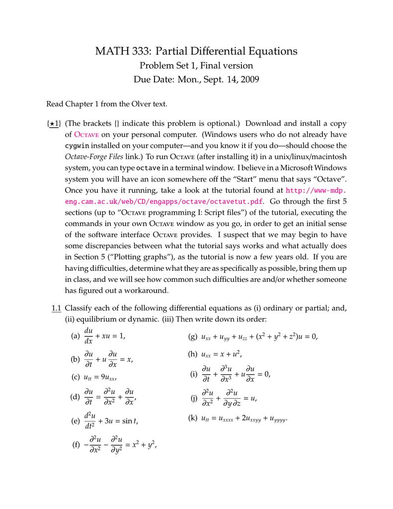 fferential Equations MATH 333: Partial Di Problem Set 1