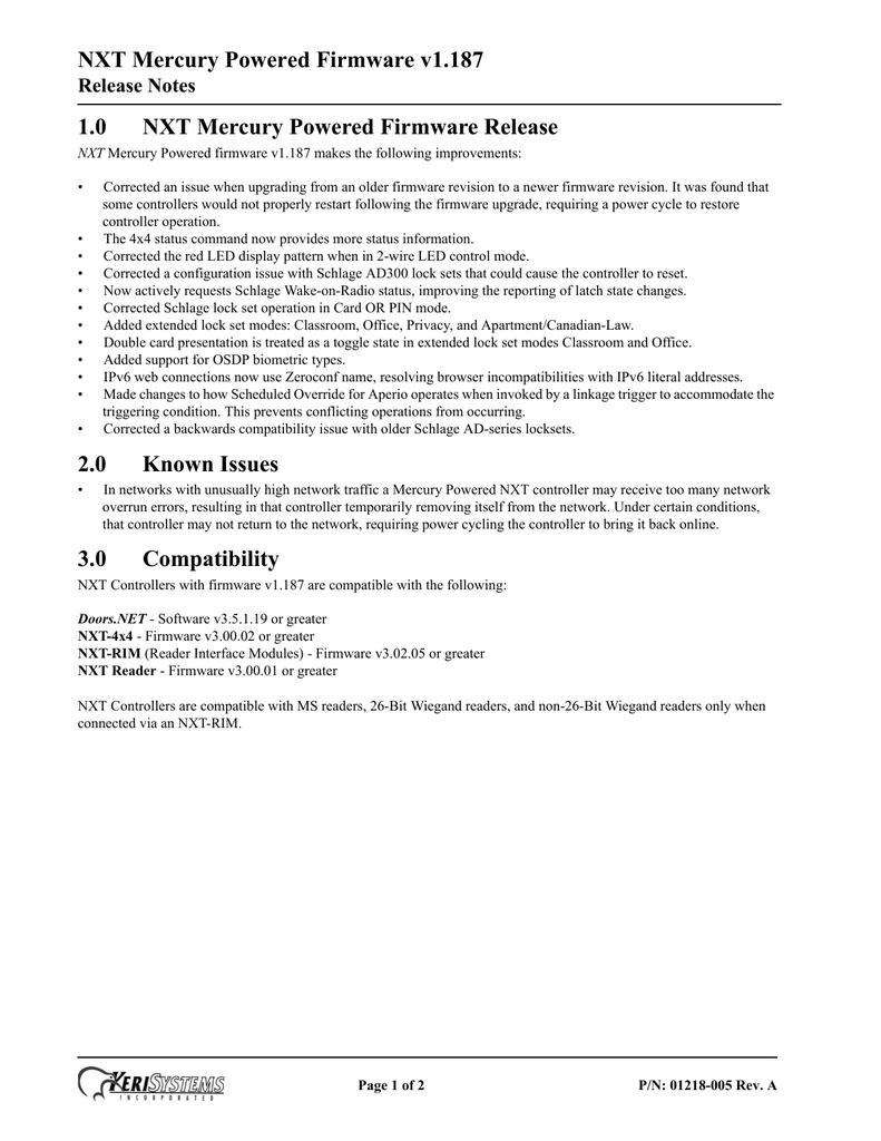 NXT_Mercury_Powered_Release_Notes_v1_187_Rev-A.pdf | Manualzz