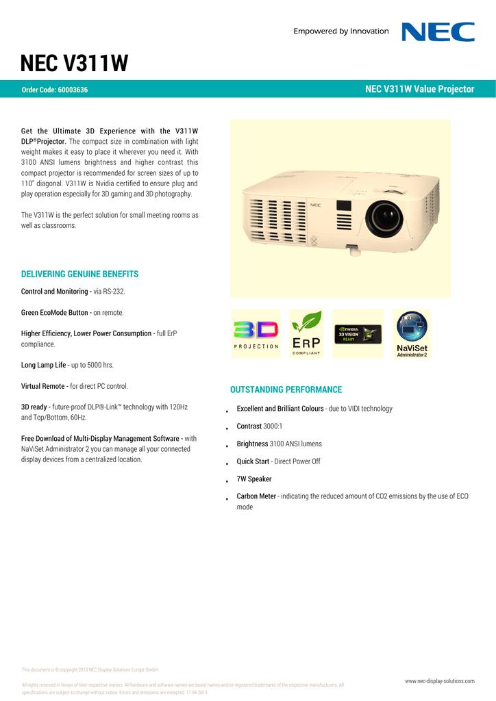 112667-NEC_Datasheet_V311W-en.pdf | Manualzz
