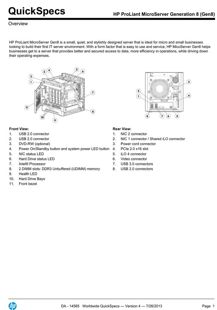 175285-QS_MicroServer_gen8.PDF   Manualzz