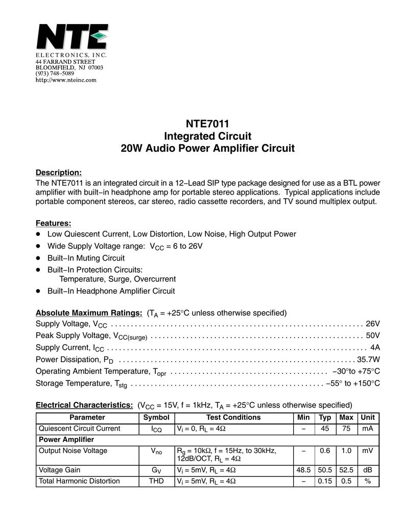 Datasheet For Ic 20w Audio Power Amp Circuit Diagram Amplifier Circuits
