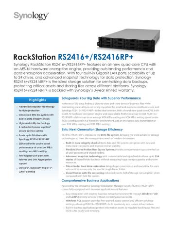 160518-Synology_RS2416_RS2416RP_Data_Sheet_enu.pdf | Manualzz