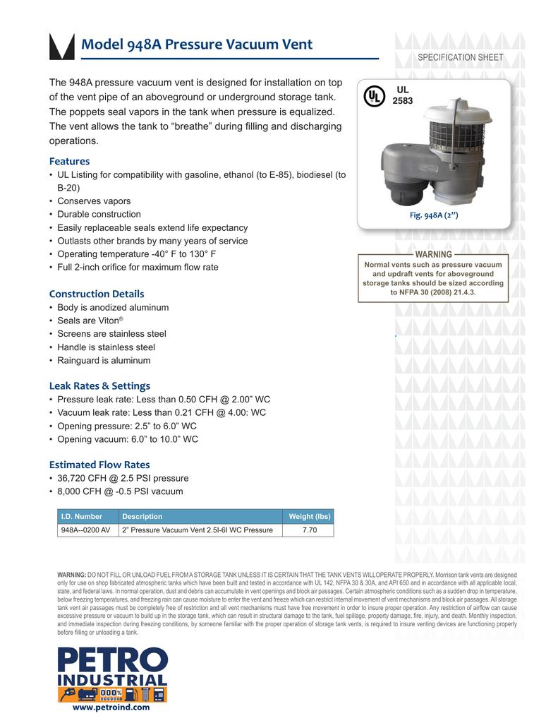 Model 948A Pressure Vacuum Vent   manualzz com