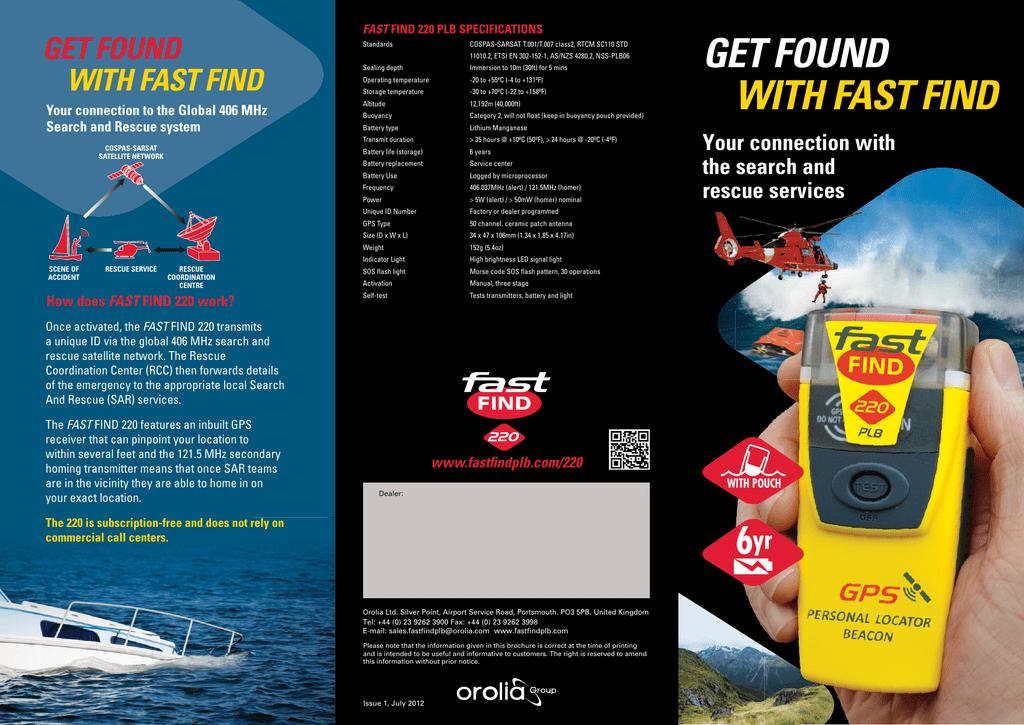 Fast Find 220 Personal Location Beacon Brochure   manualzz com