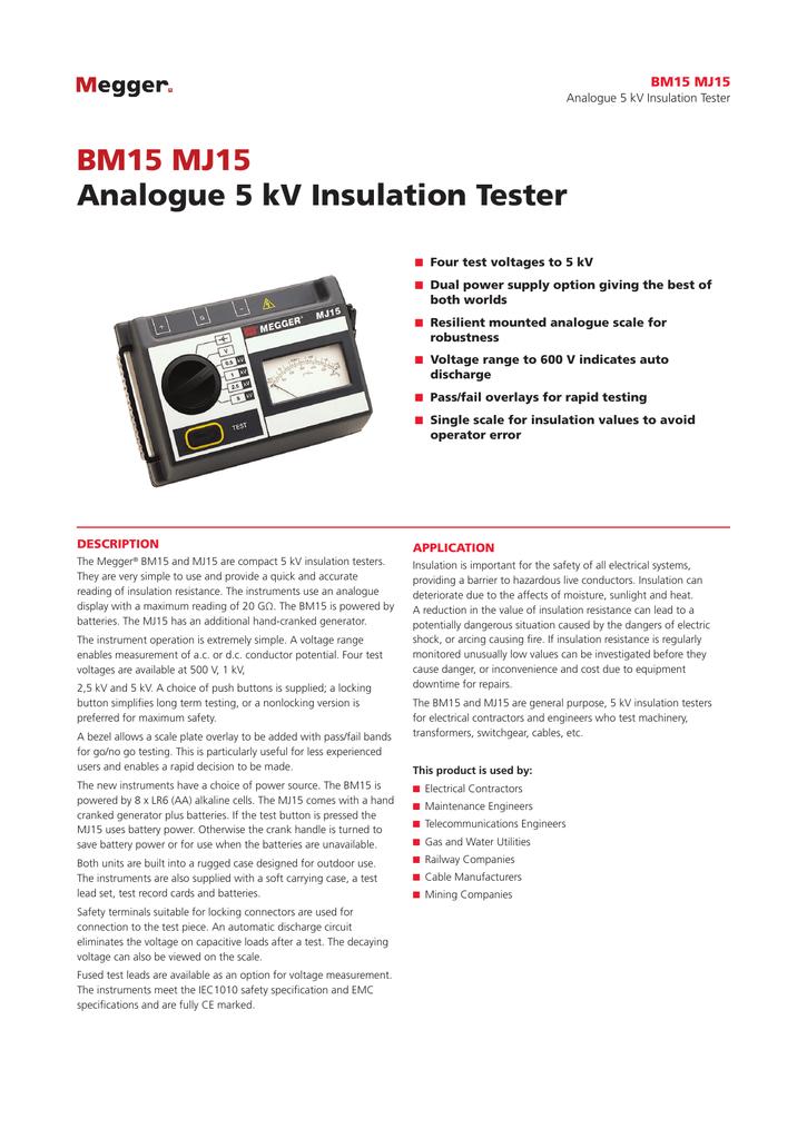 BM15 MJ15 Analogue 5 kV Insulation Tester | manualzz com
