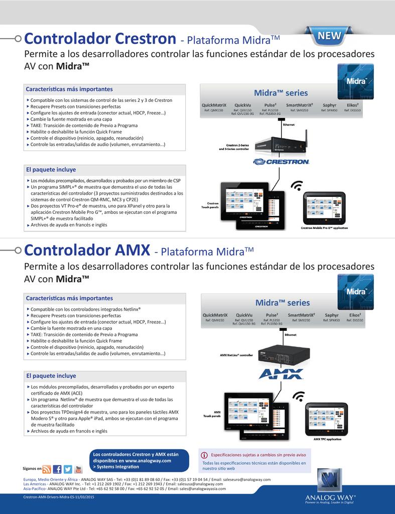 Crestron Driver - Midra™ platform - Technical Datasheet (Spanish ...