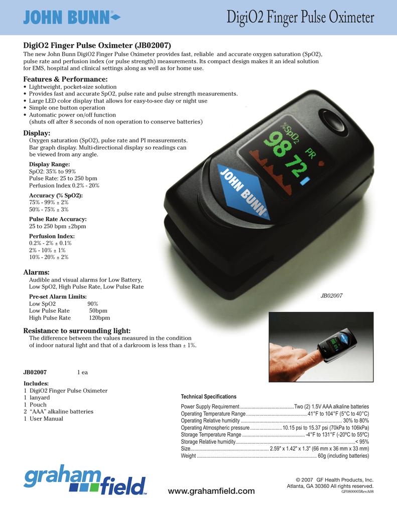 Product Sheet - DigiO2 Finger Pulse Oximeter | manualzz com