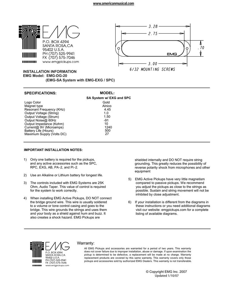 emg 89 81 21 wiring diagram emg dg20 david gilmour pickup set manual manualzz  emg dg20 david gilmour pickup set