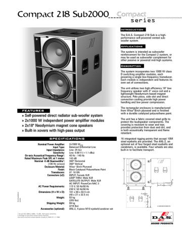 Tehnična specifikacija DAS Audio Compact 218 Sub 2K ANG | Manualzz