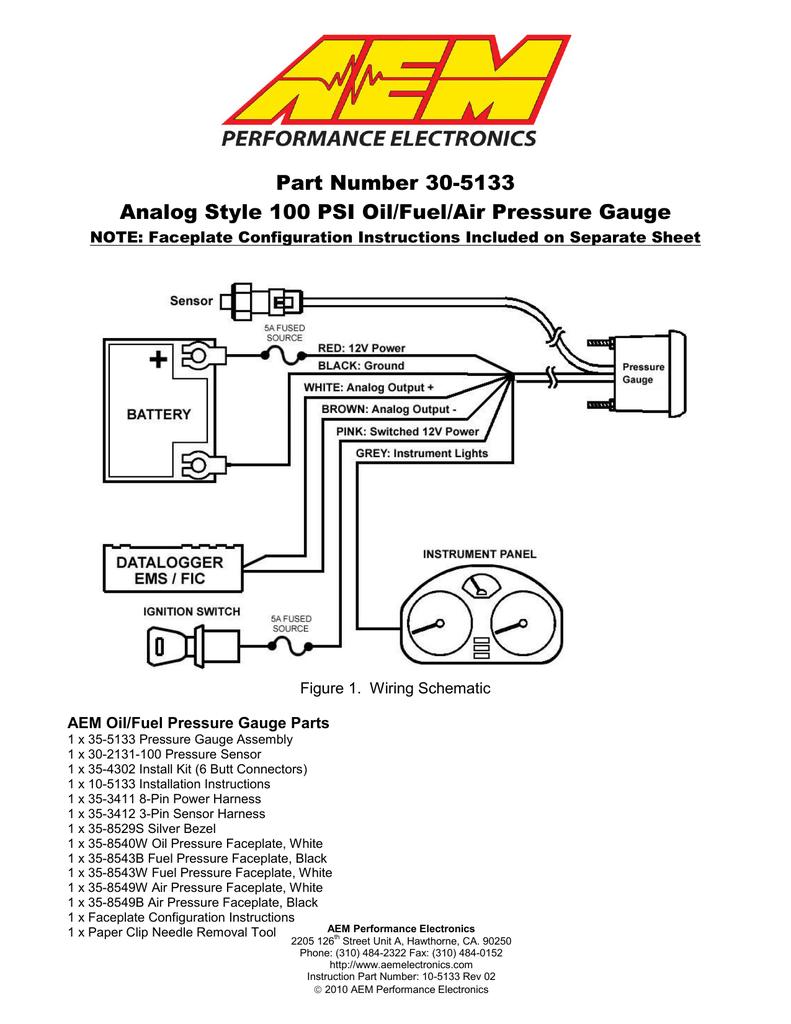 part number 30 5133 analog style 100 psi oil fuel air  air pressure gauge wiring diagram #4
