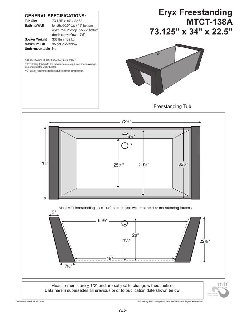 Eryx Freestanding MTCT-138A 73.125\