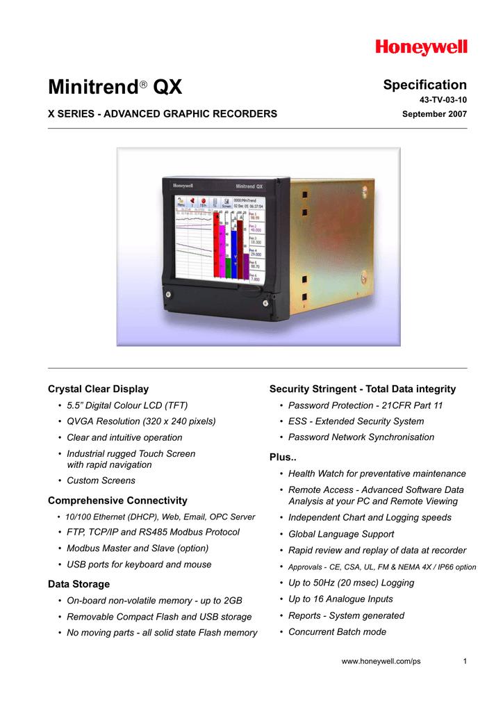 Registrador grfico avanzado Minitrend QX.pdf | Manualzz