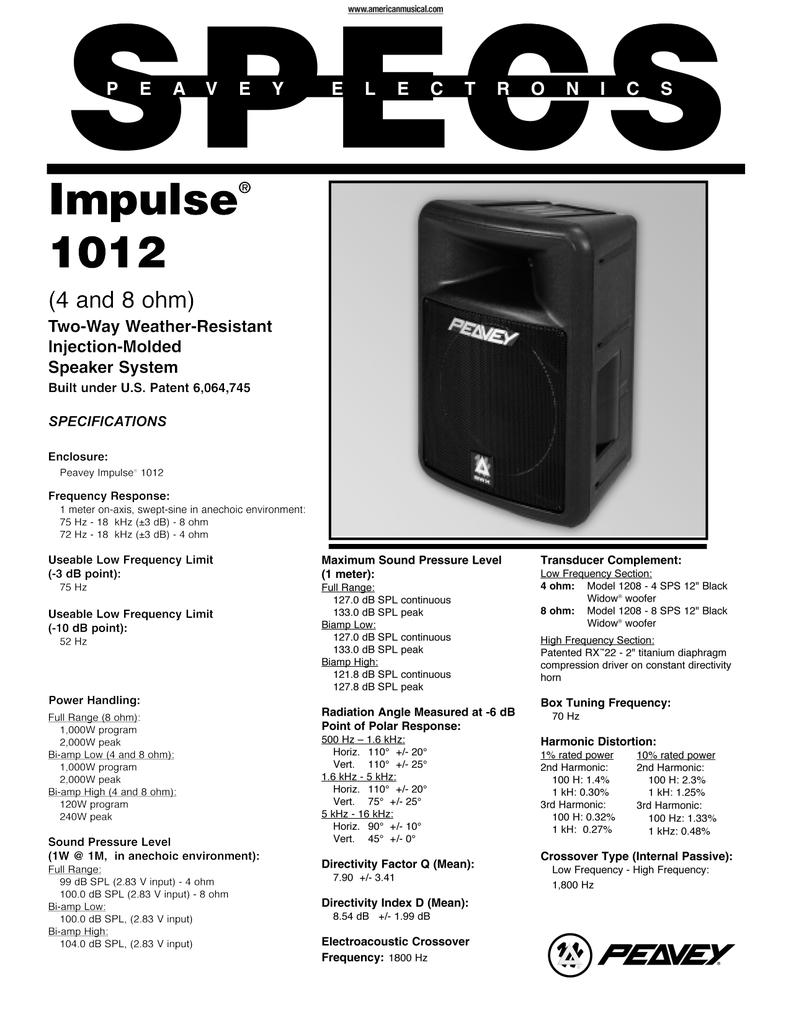 Peavey Impulse 1012 Speaker Specifications | manualzz com