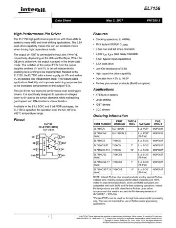 EL7156 Intersil, PIN driver, 40MHz 3A.pdf | Manualzz