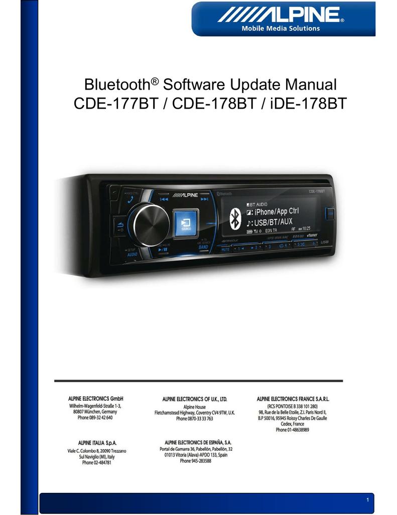 UG_BT_Update_iDE-178BT_CDE-177BT_CDE-178BT_EN.pdf | Manualzz
