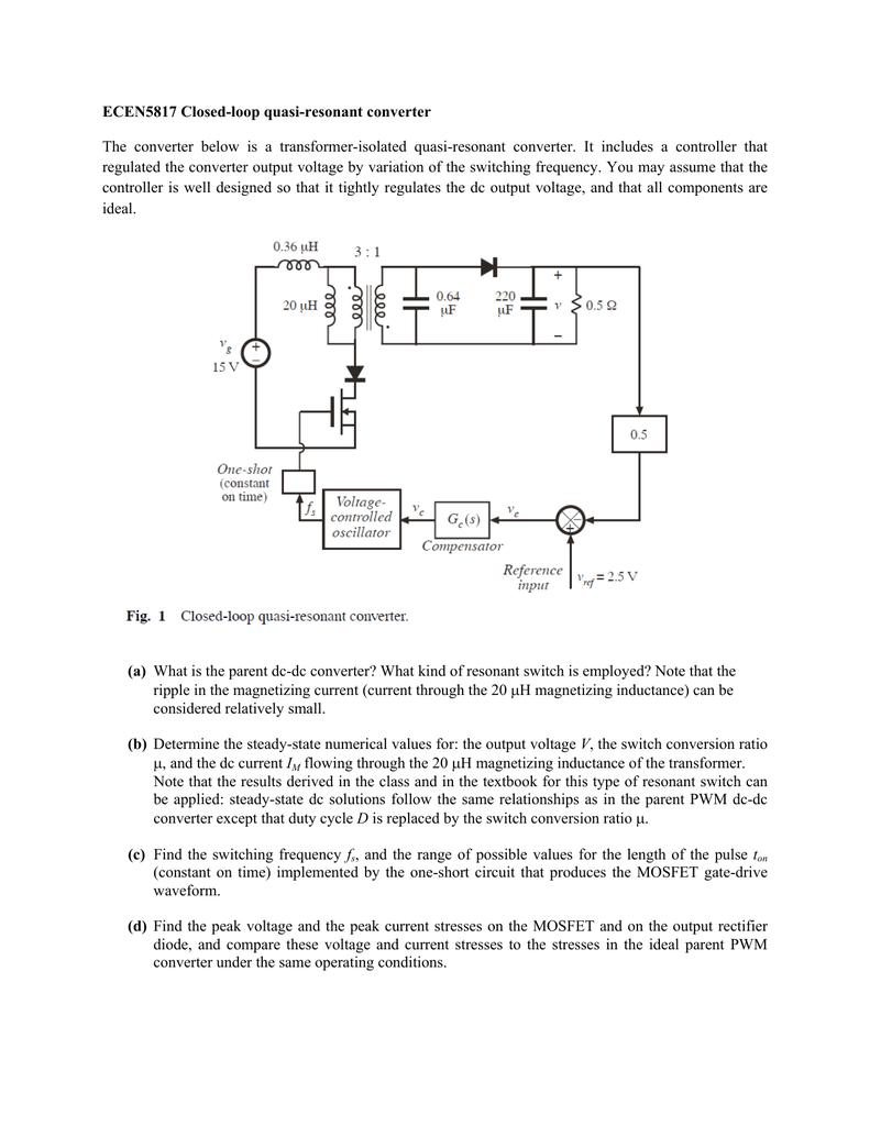 Closed Loop Quasi Resonant Converter Short Circuit A Is In