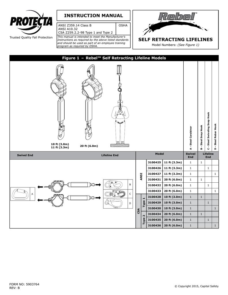Protecta 3100427 Self Retracting Lifeline 11/' Web with Steel Rebar Hook