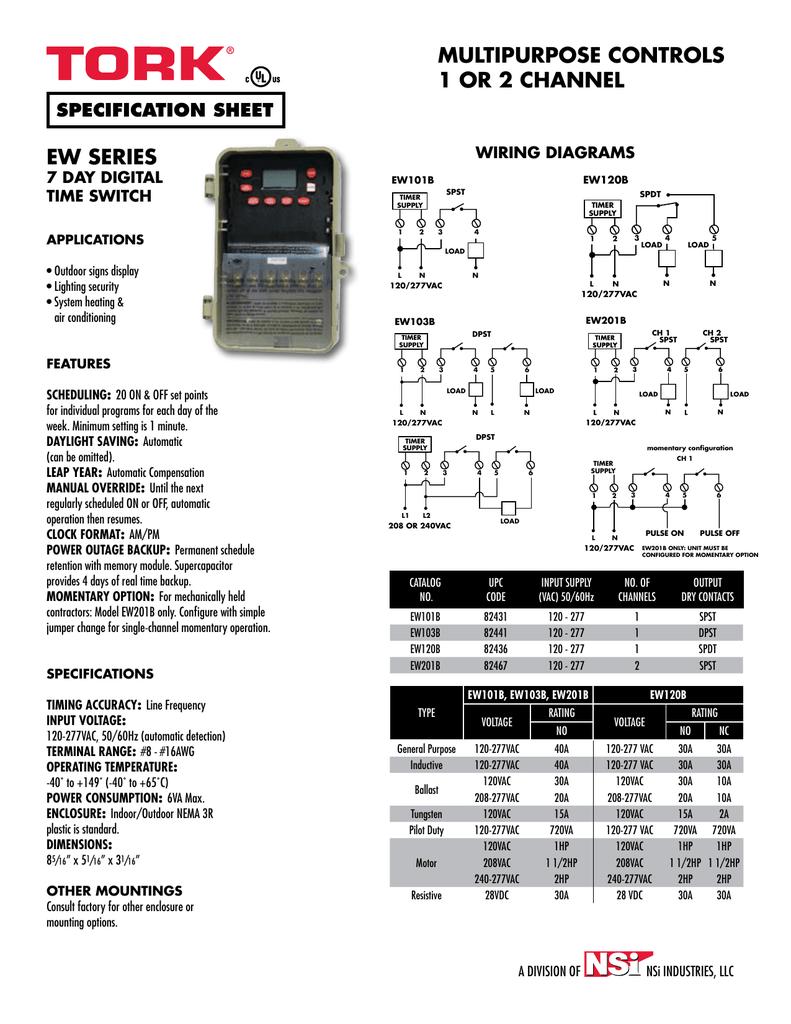 NSI TORK 7-Day Digital Timer EW101B Spec Sheet | manualzz.com Tork Tu Wiring Diagram on