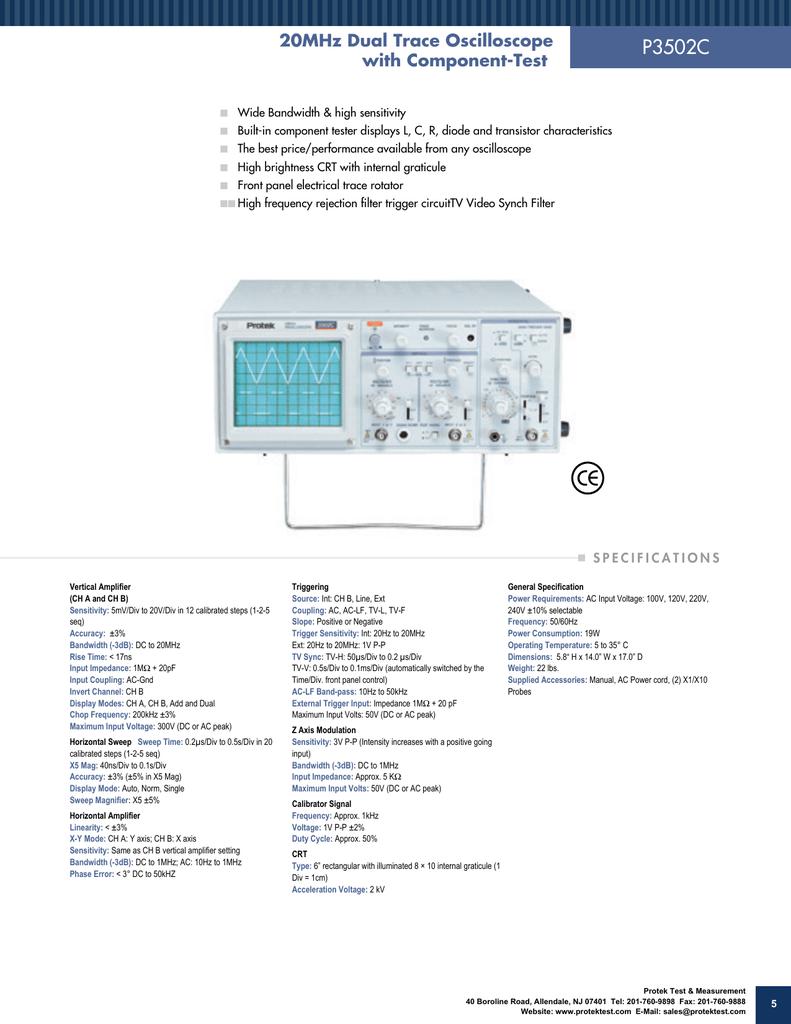 P3502C - Protek Analog Oscilloscopes | manualzz com