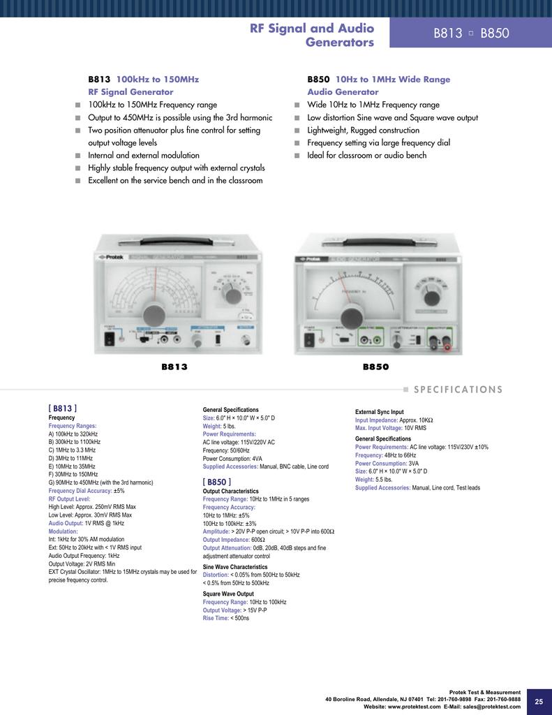 B850 Protek Function Generators Audio Generator Circuit And Full Description