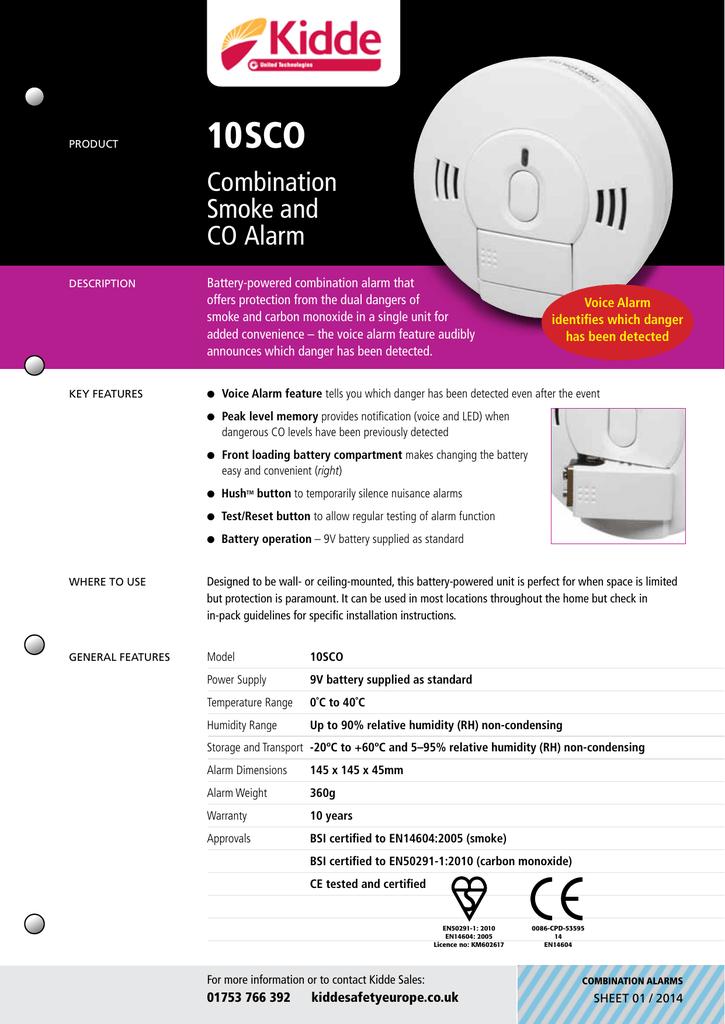 Kidde 10SCO Combined Smoke and Carbon Monoxide Detector Alarm Voice Notification