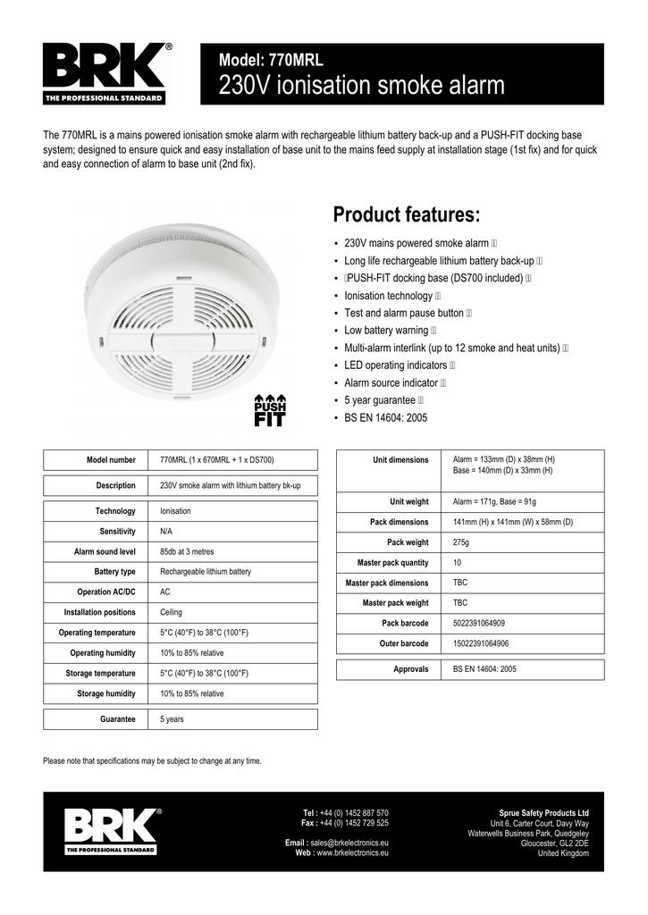 BRK 770MRL Ionisation Smoke Alarm Datasheet | manualzz com