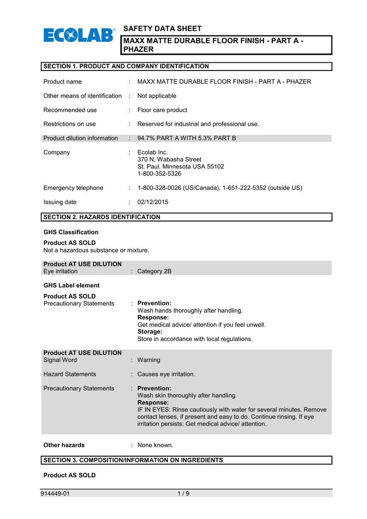 Safety Data Sheet Phazer Manualzz