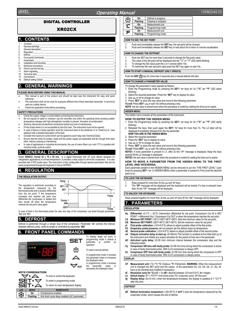 dixell XR02CX Operating Manual   Manualzz