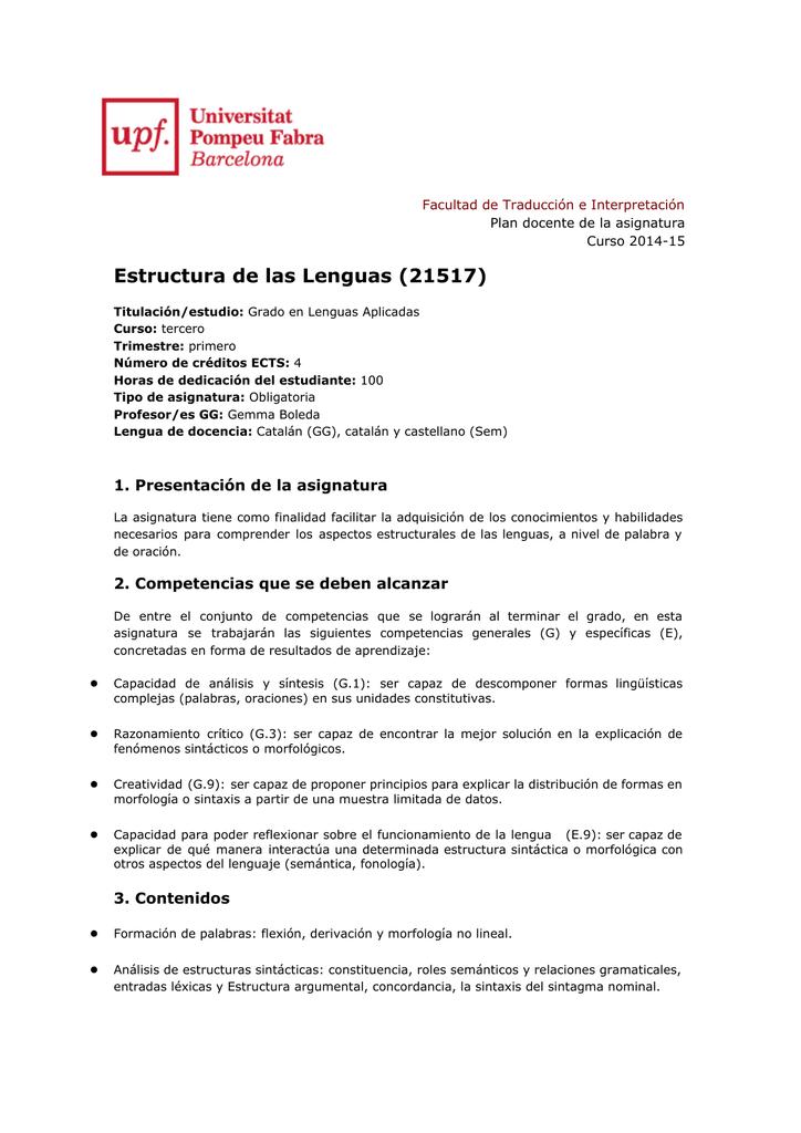 Estructura De Las Lenguas 21517 Plan Docente De La