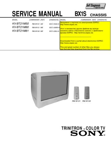 KV-BT21M50, 80, 81 chassis BX1S.pdf | Manualzz