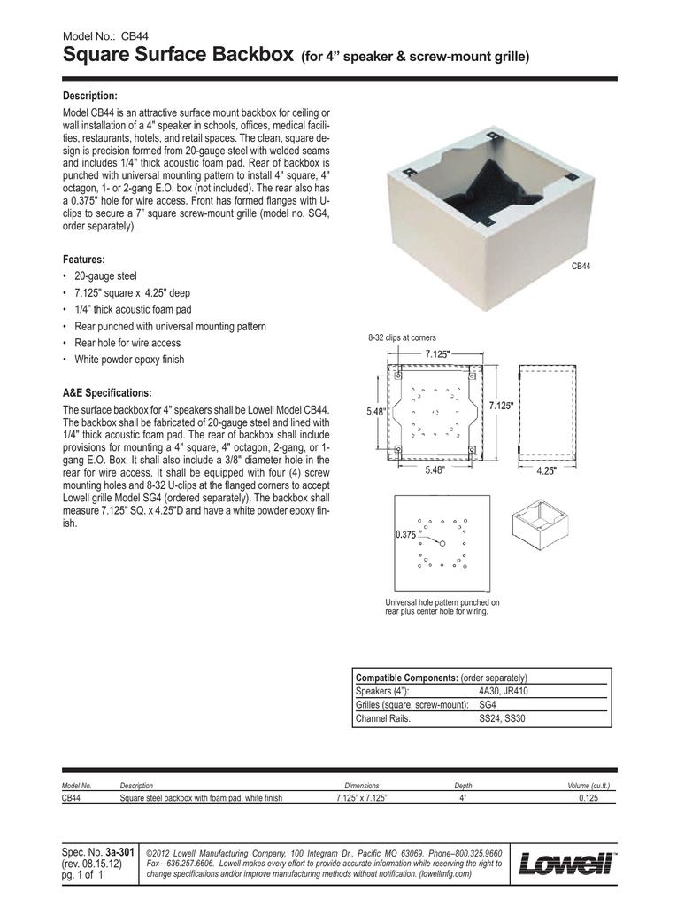 "Square Surface Backbox (for 4"" speaker & -mount grille ... on"
