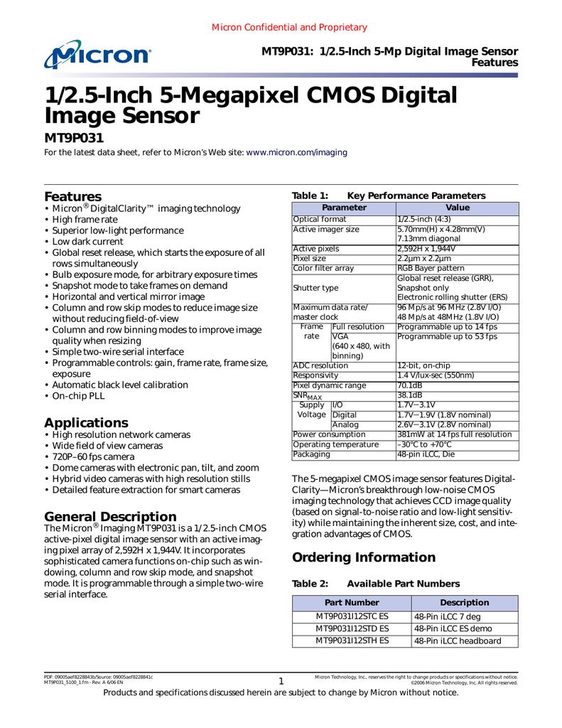 MT9P031.pdf | Manualzz