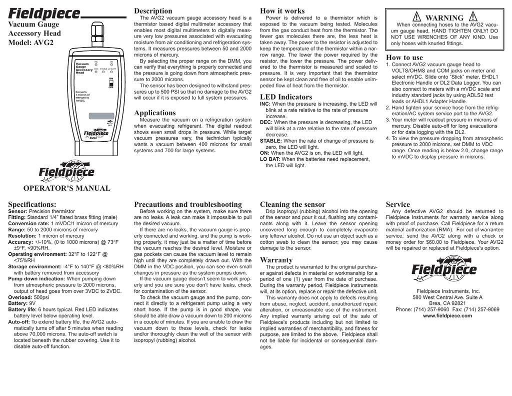 Fieldpiece Description How it works Vacuum Gauge | manualzz com