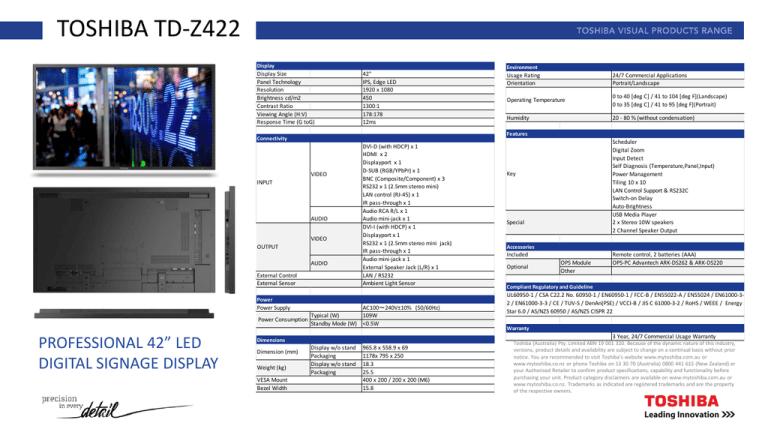 Toshiba Td Z422 Manualzz