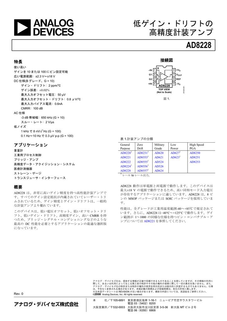 AD8228 低ゲイン・ドリフトの 高精度計装アンプ | Manualzz