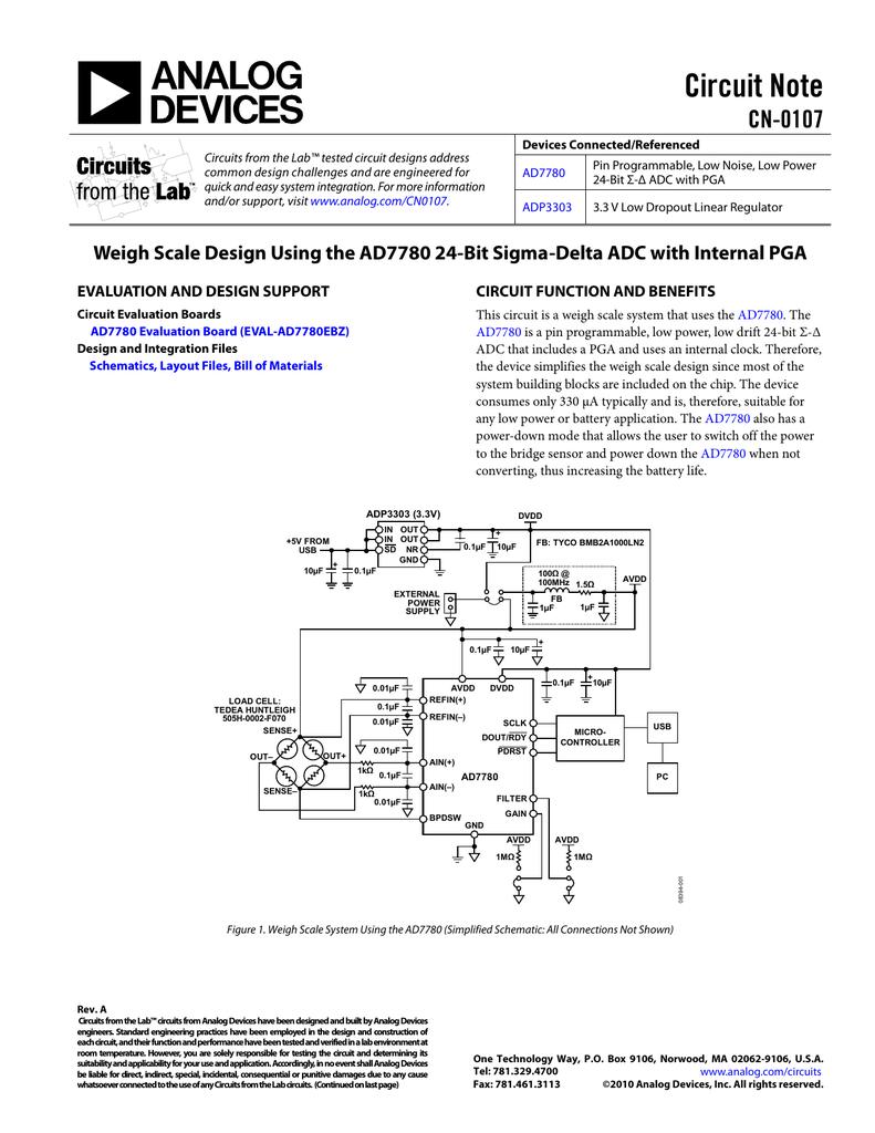 CN-0107: Weigh Scale Design Using the AD7780 24-Bit Sigma