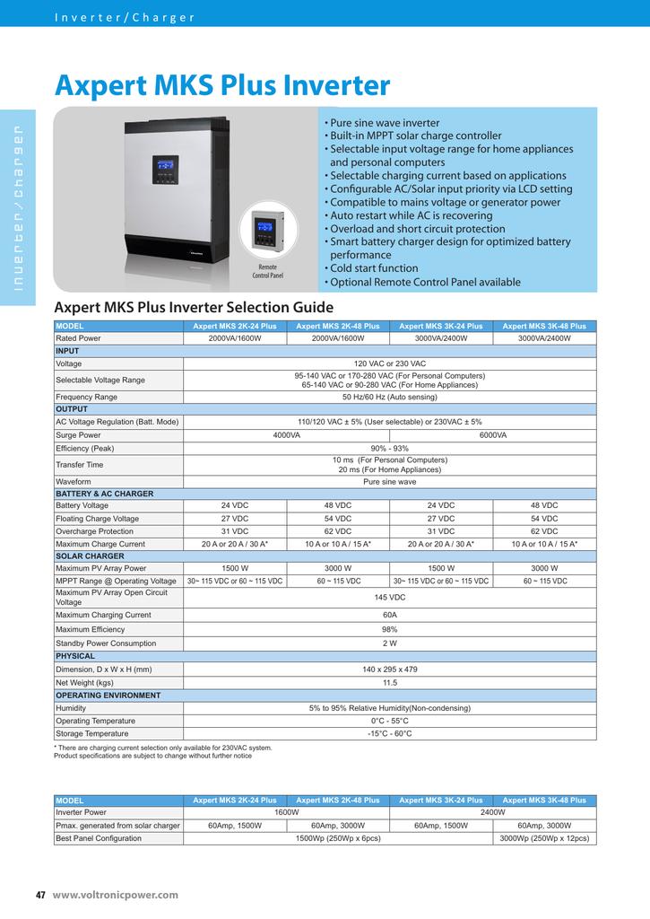 Axpert MKS Plus Inverter Axpert MKS Plus Inverter ...