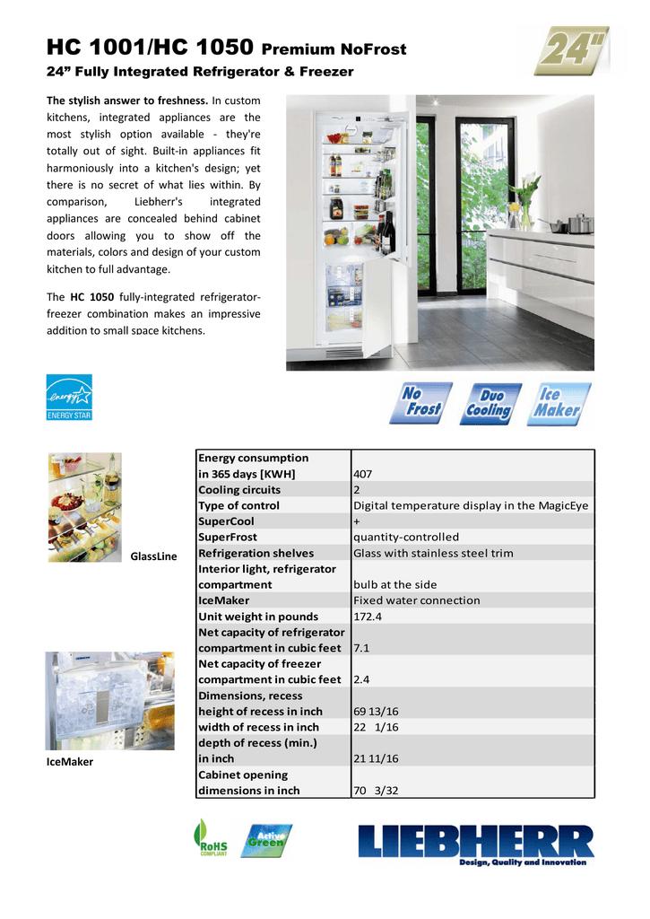 "HC 1001/HC 1050 Premium NoFrost 24"" Fully Integrated Refrigerator"