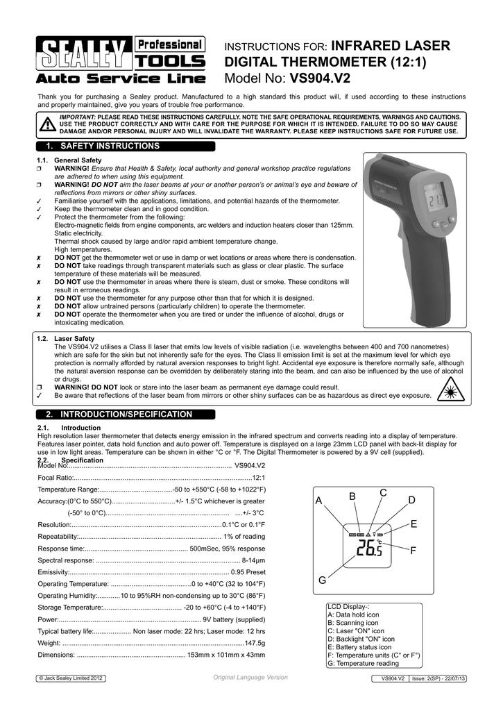 Sealey Professional Laser Digital Tachometer Contact TA050 Non-Contact