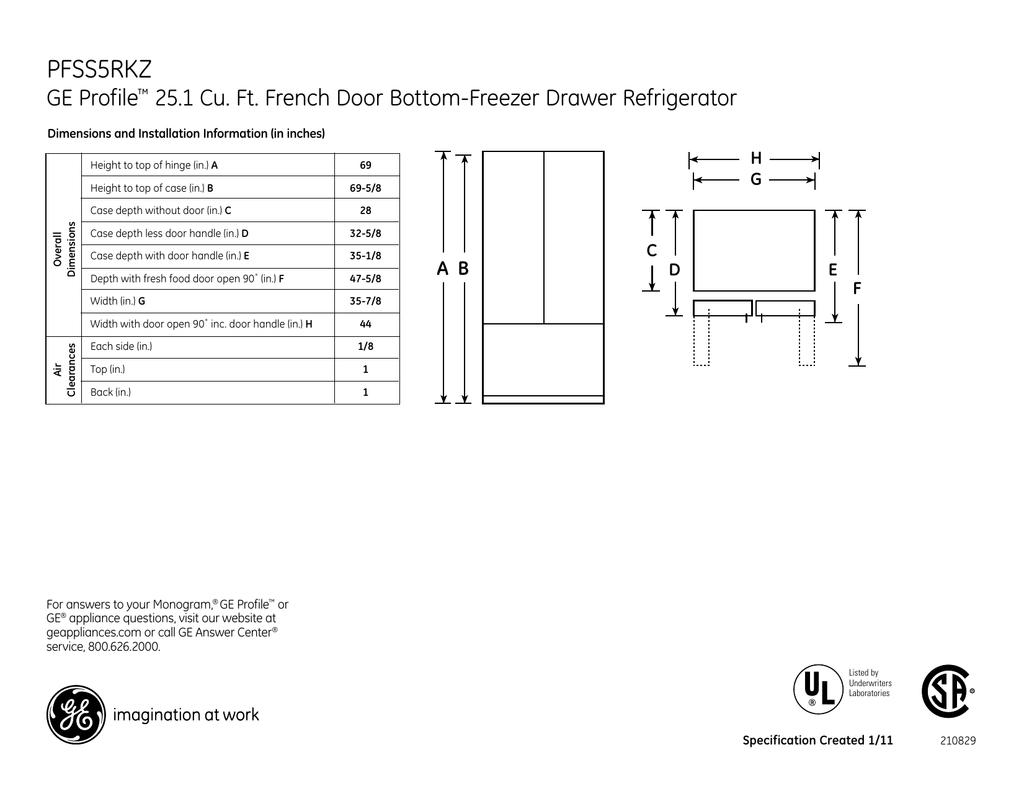 PFSS5RKZ GE Profile 25.1 Cu. Ft. French Door Bottom-Freezer ... on