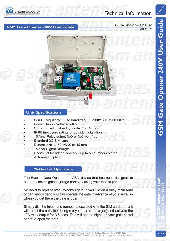 GSM Gate Opener Manual.pdf | Manualzz