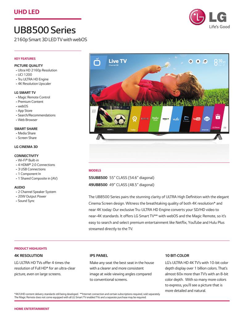 UB8500 Series UHD LED 2160p Smart 3D LED TV with webOS | manualzz com