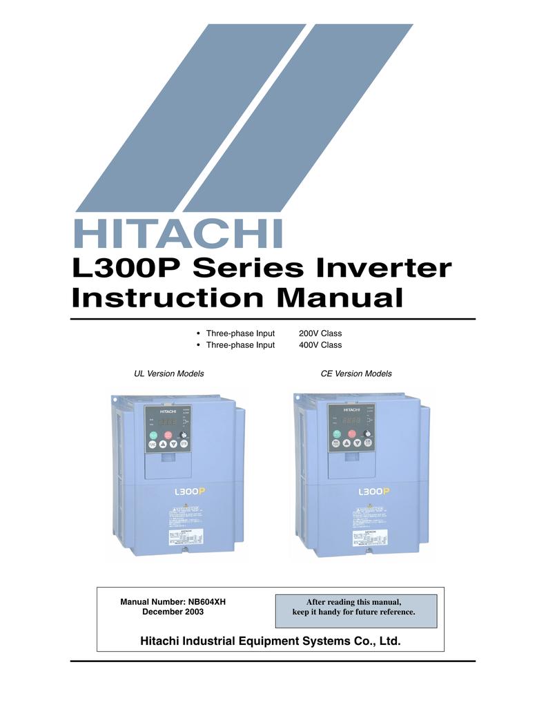 HITACHI L300P Series Inverter Instruction Manual Hitachi