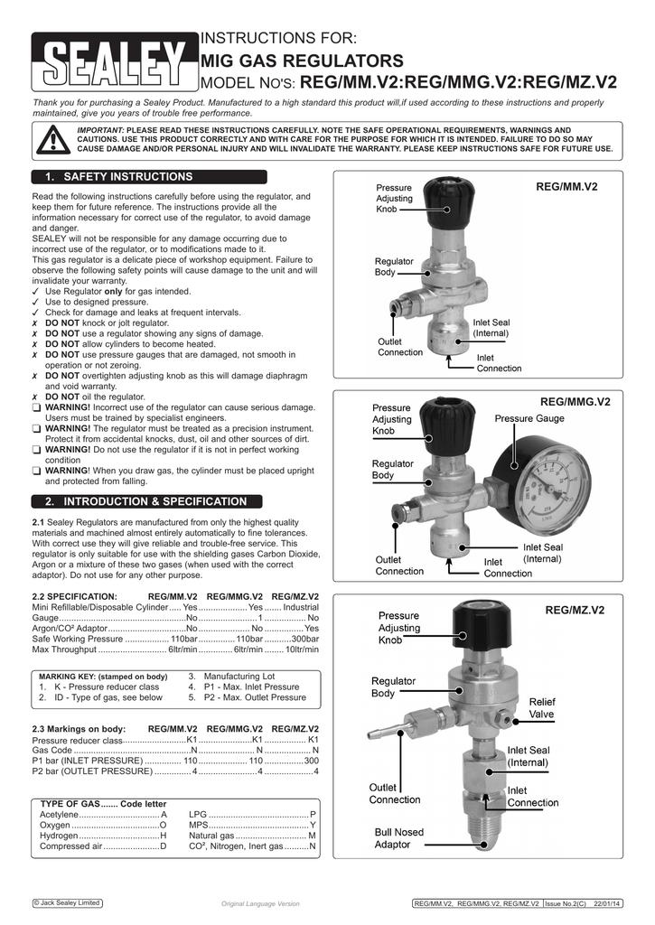 Sealey MIG Gas Regulator Disposable Cylinder 1 Gauge REG//MMG