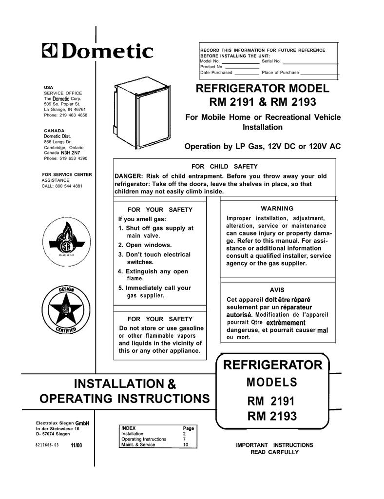 I 81 Dometic Refrigerator Model Rm 2191 Amp Rm 2193 Manualzzcom