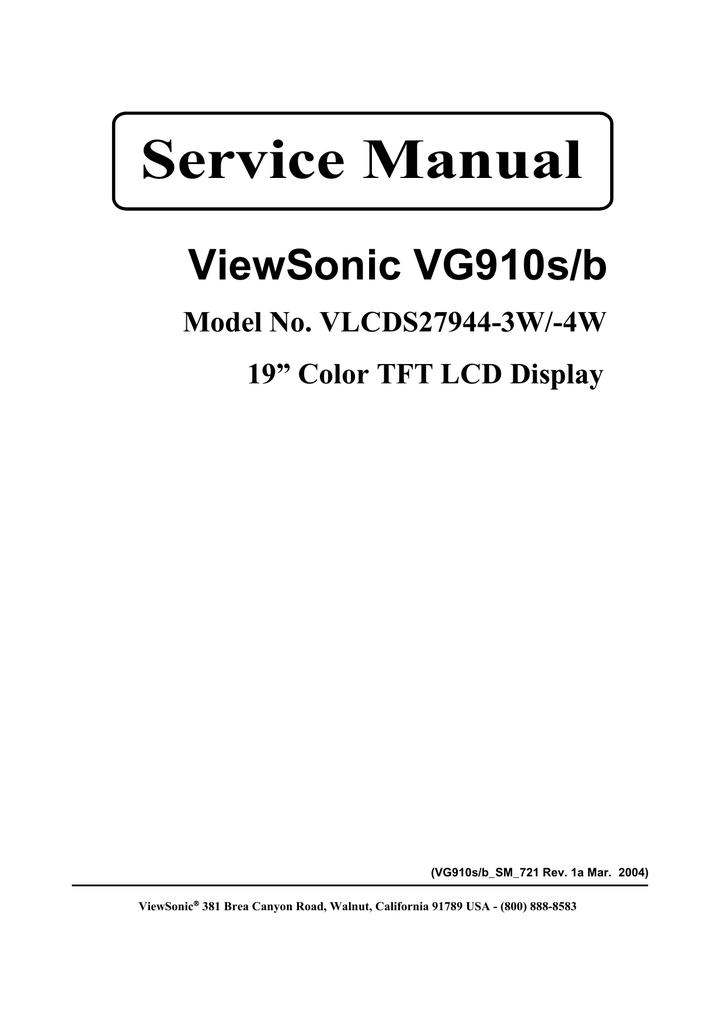 Service Manual Viewsonic Vg910s  B