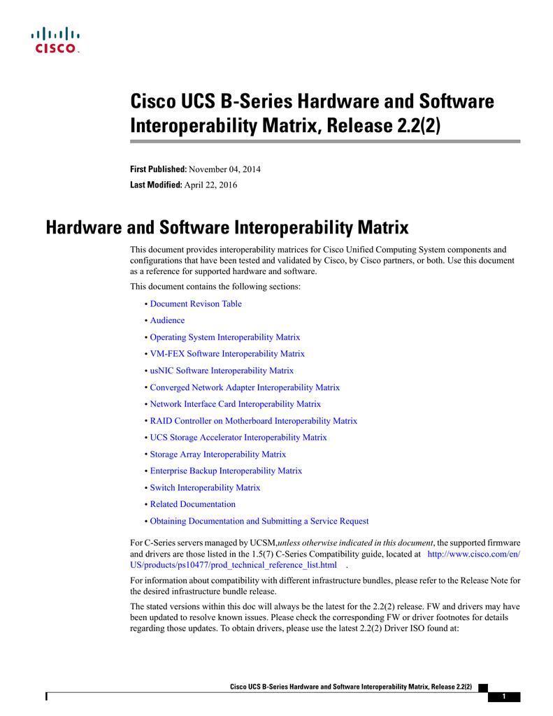 Cisco UCS B-Series Hardware and Software Interoperability Matrix