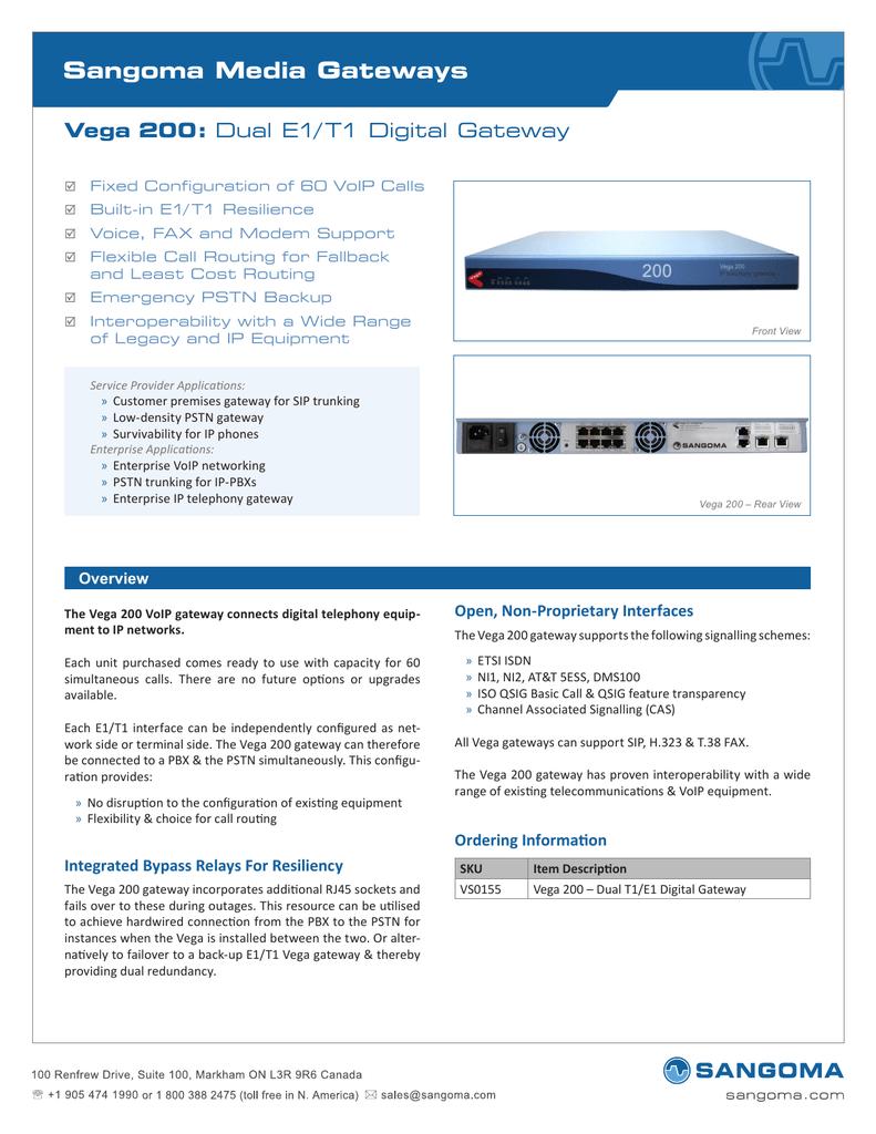 Sangoma Telephony Card Sangoma Media Gateways Vega 200: | manualzz com