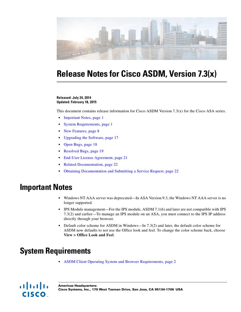 Release Notes for Cisco ASDM, Version 7 3(x) | manualzz com