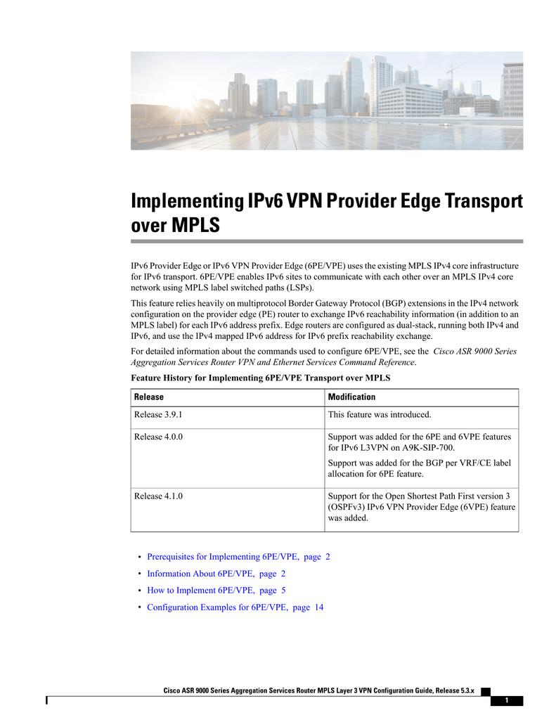 Implementing IPv6 VPN Provider Edge Transport over MPLS | manualzz com